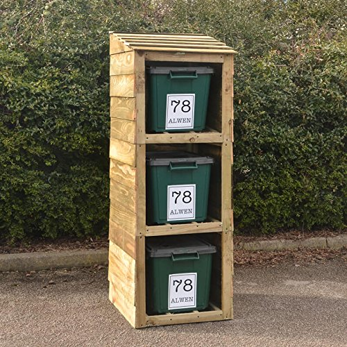 Signs & Numbers Recycle Box Storage, Bin and Recycling Store for 3 Bins with 3-Free Personalised Address Labels, Perfect for Garden or Garage 660 x 600 x 1635 Millimetres