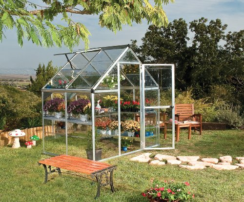 Palram Harmony Greenhouse - Clear Polycarbonate, Aluminium Frame, Base Included – Silver/Green (6x4, Silver)