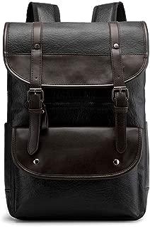 SAIPULIN School Backpack Notebook Backpack Everyday Job with Laptop 15 Inch Laptop Backpack Leather Daypack,Laptop Backpack Men's Backpack Large Capacity Travel Bag Laptop Backpack (Color : Black)