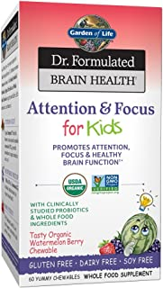 Garden of Life Dr. Formulated Attention and Focus for Kids, Supplement Promotes Healthy Brain Function, Concentration with...
