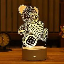 WZWHJ mooie 3D Nachtlampje Acryl Decoratie Nachtlampje Slaapkamer Nachtkastje Lamp-Champagne (Kleur: Beer)