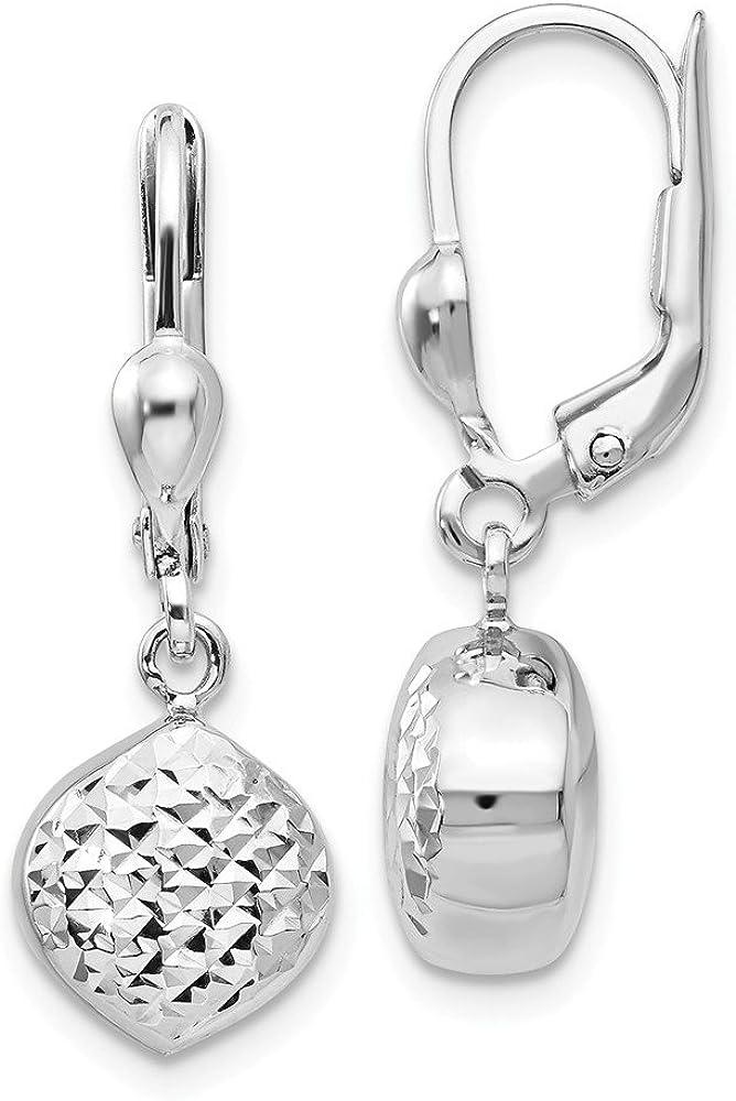 14k White Gold Drop Dangle Chandelier Leverback Earrings Lever Back Love Fine Jewelry For Women Gifts For Her