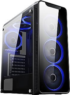CiT Blaze, Mid-Tower ATX, 6 ventole a LED blu ad anello singolo, in vetro temperato, pronto per il raffreddamento ad acqu...