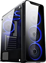 CiT Blaze PC Gaming Case, Mid-Tower ATX, 6 Halo Single-Ring Blue LED Fans, Tempered Glass, Water-Cooling Ready, for Enhanced Gaming | Black