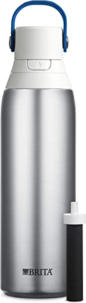 Brita 20 Ounce Premium Filtering Water Bottle With Filter BPA Free Stainless Steel