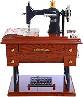 Elaco Vintage Mahogany Music Box Mini Sewing Machine Style Mechanical Birthday Gift Table Decor with The Music Sounded, Pedals, Leather Strap Wheel Needle Hole Will Be Rotated (Multicolor)