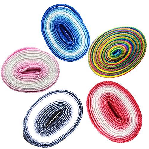 BEIFON 5 Paia120cm Lacci Scarpe Colorati Stringhe Scarpe Colorate Lacci Piatti da Colore Sfumato Arcobaleno Shoelaces per Scarpe da Skate Sportive Ginnastica Stivali (Rosso/Rosa/Blu/Nero/Rainbow)