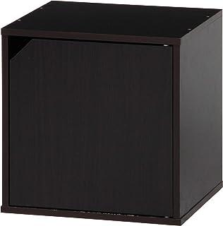 不二貿易 キューブボックス 扉付き 幅34.5cm ブラウン 組み合わせ自由 81906