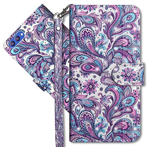 MRSTER Honor View 10 Handytasche, Leder Schutzhülle Brieftasche Hülle Flip Hülle 3D Muster Cover mit Kartenfach Magnet Tasche Handyhüllen für Huawei Honor View 10. YX 3D - Peacock Flower
