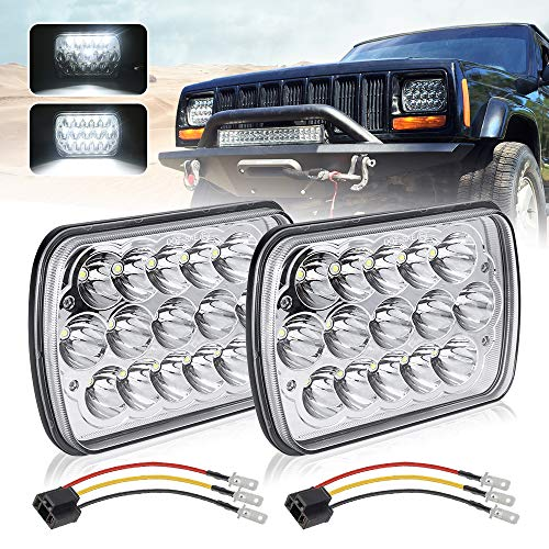 """(2 Pcs) DOT approved 5"""" x 7"""" 6x7inch Rectangular LED Headlights Compatible with Jeep Wrangler YJ Cherokee XJ Trucks 4X4 Offroad Headlamp Replacement H6054 H5054 H6054LL 69822 6052 6053"""