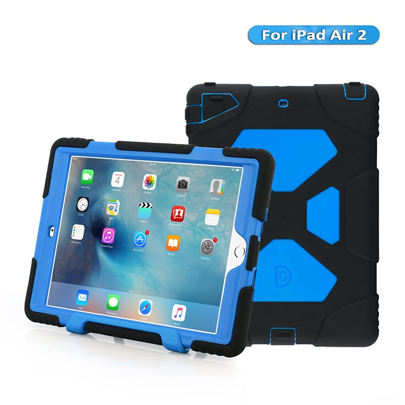 KIDSPR iPad Air 2 Case, IPad 6 Case, [Kids-Proof] [Shockproof] [Scratch Proof] [Drop Resistance] [Impact Resistant] Super Protection Cover Case with Stand for iPad Air 2 Tablet(2014)(Black/Blue)