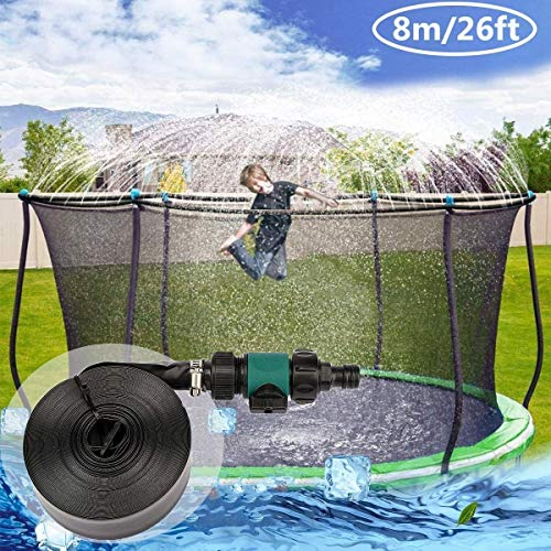Trampoline Sprinkler for Kids and Adults Waterpark Outdoor Fun Summer Outdoor Water Games Yard Toys Sprinklers Backyard Water Park for Boys Girls, Black (Size : 8M/26FT)