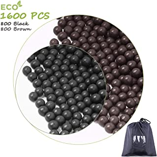 cyrico Slingshot Ammo Ball, 9-10mm Slingshot Clay Ammo Biodegradable, 1600 Pcs(Black+Grey)