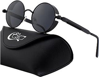 f24333b920e CGID E72 Retro Steampunk Style Men Women Round Metal Circle Polarized  Sunglasses