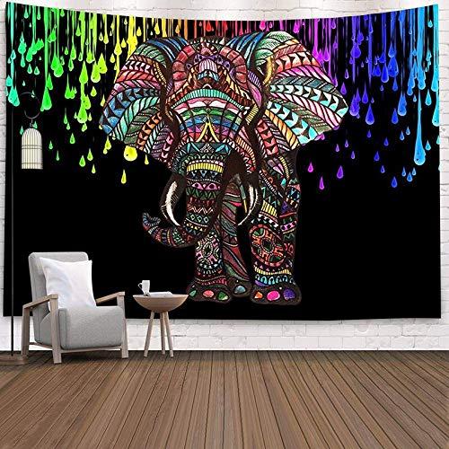 KHKJ Bohemia Mandala Elefante Tapiz Colgante de Pared Playa de Arena Picnic Alfombra Manta Tienda de campaña Viaje Almohadilla para Dormir A8 200x180cm