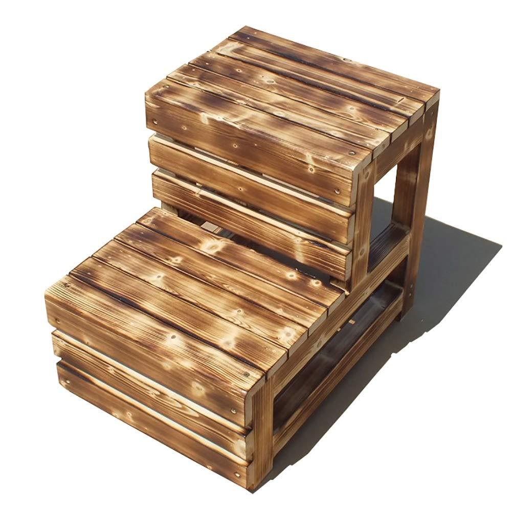 Taburete de escalera ZCJB Escalera De Madera Quemada Taburete De 2 Peldaños, Estructura De Espiga Tradicional - Robusto, No Requiere Ensamblaje Taburete (Size : 35×48×42cm): Amazon.es: Hogar
