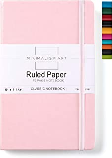 Minimalism Art, Classic Notebook Journal, A5 Size 5 X 8.3 inches, Pink, Ruled Lined Page, 192 Pages, Hard Cover, Fine PU Leather, Inner Pocket, Quality Paper-100gsm, Designed in San Francisco
