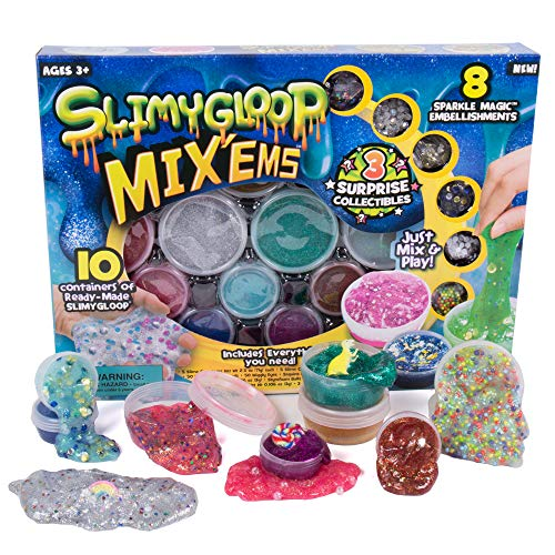 Slimygloop Mix'Ems by Horizon Group USA-Mix & Create 10 Different Gooey, Putty, Slime with Pompoms, Sequins, Confetti & 3 Mystery Collectibles, Multicolor, One Size