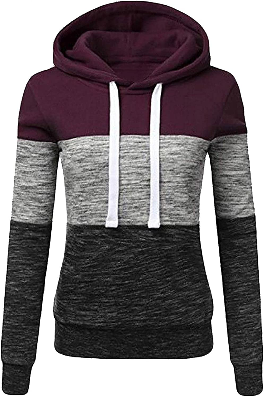 Hoodies for Women,Women's Pullover Long Sleeve Winter Hoodies Color Block Tunics Loose Casual Sweatshirts