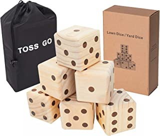 TOSS GO Giant Lawn Dice 6-Pack Set with Drawstring Bag - 3.5
