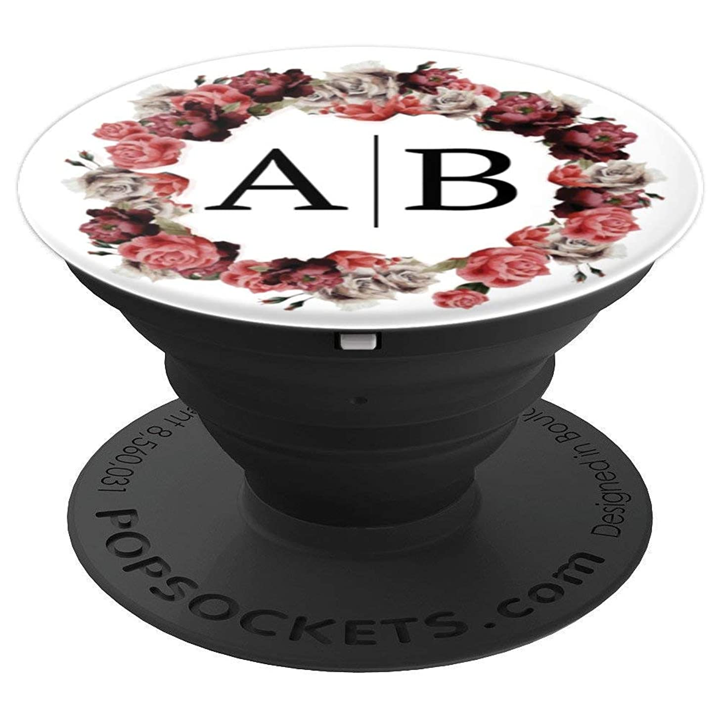 Letter A B Initials Monogram Rose Wedding Flower AB - PopSockets Grip and Stand for Phones and Tablets