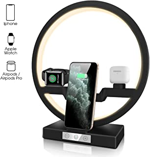 Wireless Charger, QI-EU Multifunction 30W Fast Charging Station with Nightlight Compatible Apple Watch Airpods iPhone 11/11pro/11pro Max/X/XS/XR/Xs Max/8/8 Plus and Samsung Smartphone