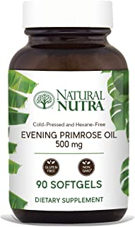 Natural Nutra Evening Primrose Oil Supplement from Fatty Acid, Non-GMO, Cold Pressed, 500 mg, 90 Softgels