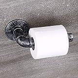BTSKY Soporte de papel higiénico de tubo industrial vintage – soporte para...