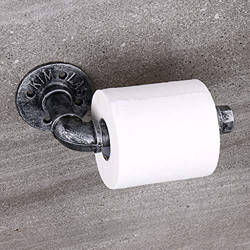 BTSKY Portarrollos de papel higiénico de tubo industrial vintage – Soporte para papel higiénico retro montado en la...