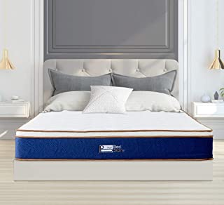 BedStory 10Inch Natural Latex Hybrid Mattress Queen, Supportive Individual Spring Mattress with Comfort Foam, Relief Pain, Luxury Euro Top Medium Firm Mattress, 10-Year Warranty
