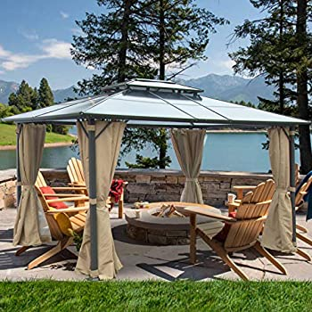Yamadao 10x13FT Aluminum Frame Grill Pergola Outdoor Double Roof Gazebo Canopy with Netting and Curtains for Gardens Terraces Patio