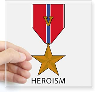CafePress Bronze Star With39;V39; for Valor - Heroism S Square Bumper Sticker Car Decal, 3