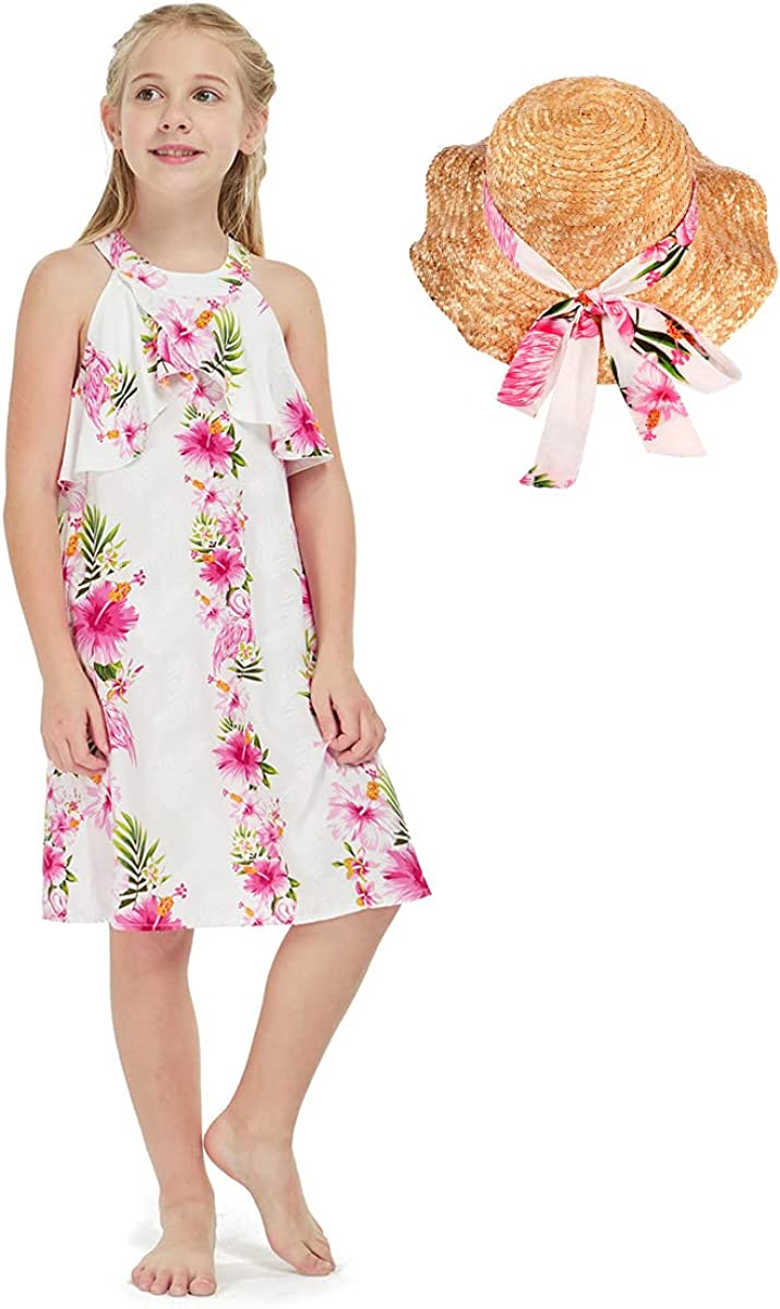 Girl Hawaiian Round Neck Cash special price with Ruffle Hibiscus Max 71% OFF Vine Pink Dress in
