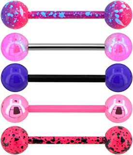 5PCS Pink Purple Acrylic Balls Tongue Barbell Splatter 316L Stainless Steel Bar Tongue Rings Piercing