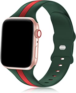 iWabcertoo Designer Sport Bands Compatible with Apple Watch Bands 42mm 44mm 45mm Women and Men,Soft Silicone Replacement Strap Bands for iWatch Series 7 6 5 4 3 2 1 SE Army Green Red