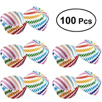 100pcs Cupcake Wrappers Liners Muffin Cases Cake Cup Party Favors Rainbow Color Wrap Baking Cup for Wedding Birthday Party Decor : Slanted Stripe