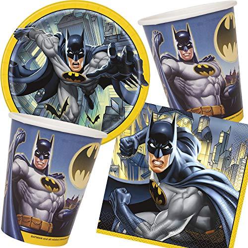 Neu: 33-teiliges Party-Set * Batman * für Kindergeburtstag mit Teller + Becher + Servietten + Deko | Fledermaus Superhelden DC Comic Held Kinder Geburtstag Mottoparty Motto