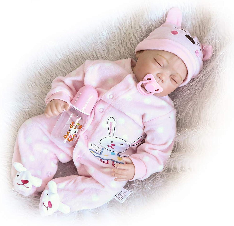 CAheadY 46cm weiches Vinylsilikon geschlossene Augen wiedergeborenes Baby  Puppe  Kinder begleiten Spielzeug