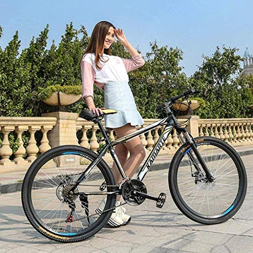 MJY Mountain Bikes, 26 inch Mountain Trail Bike, High-Carbon Steel Frame, Men's Womens All Terrain Mountain Bike with Dual Disc Brake 6-11,21 Speed