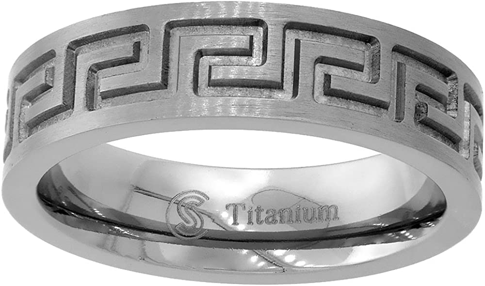 Sabrina Silver 6mm Denver Mall Titanium Wedding Band Com Spring new work Greek Flat Ring Key