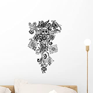 Paisley Skull Tattoo Wall Decal by Wallmonkeys Peel and Stick Graphic (18 in H x 11 in W) WM197644