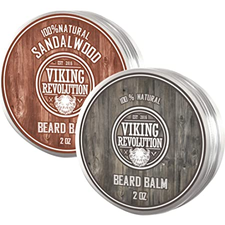 Viking Revolution Beard Balm - All Natural Grooming Treatment with Argan Oil & Mango Butter - Strengthens & Softens Beards & Mustaches - Leave in Conditioner Wax for Men (Citrus and Sandalwood Scents, Pack of 2)