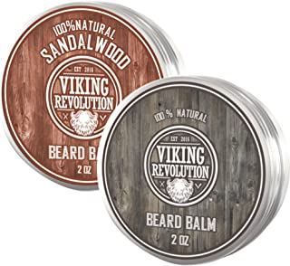 Viking Revolution Beard Balm - All Natural Grooming Treatment with Argan Oil & Mango Butter - Strengthens & Softens Beards & Mustaches - Citrus & Sandalwood Leave in Conditioner Wax for Men - 2 Pack