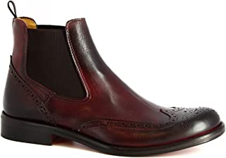 Leonardo Shoes Stivaletti Uomo Brogues Artigianali Pelle di Vitello Bordeaux - Codice Modello: T030 SIVIGLIA Bordo