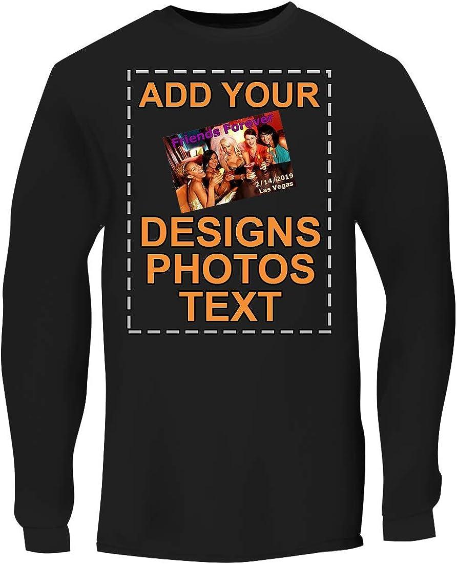 売れ筋ランキング Custom Personalized Men's Long Sleeve Image Printed - 正規品スーパーSALE×店内全品キャンペーン Tee Text