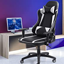 Levede Executive Gaming Office Chair Racing Computer PU Leather Recliner Silver Silver