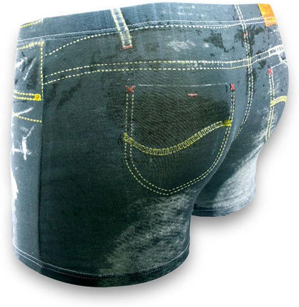 no!no! 2 Pcs Men Underwear 3D Cowboy Printed Cotton Men's Cuecas Boxer Briefs, Fake Jean