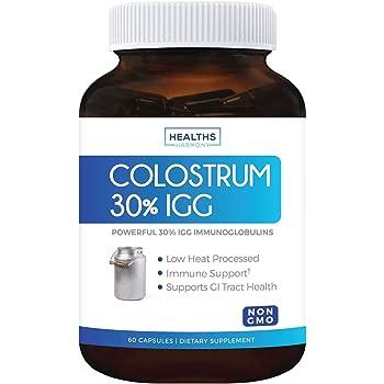 Colostrum 1,000mg (Non-GMO) 30% IgG Immunoglobulins - Immune System Support, Gut Health & Respiratory Health Supplement - Low Heat Processed Bovine Colostrum - 60 Capsules - No Powder or Pills
