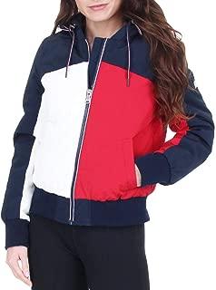 Women's Retro Colorblock Logo Hooded Bomber Jacket Coat