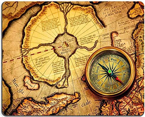 Not Applicable Alfombrilla de ratón Alfombrilla de Goma Natural La brújula Vintage se Encuentra en un Mapa Antiguo del Polo Norte también Hyperborea